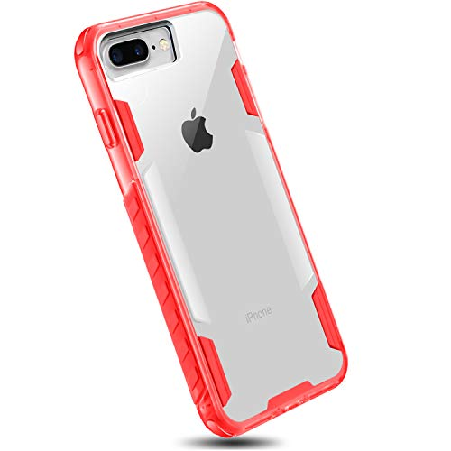 iPhone 7 Plus 8 Plus Shatterproof Hard Case (Clear) with Bumper Edges for Apple iPhone 7 Plus 8 Plus by DAUPIN Red (Case Red Phone Skin Clear)