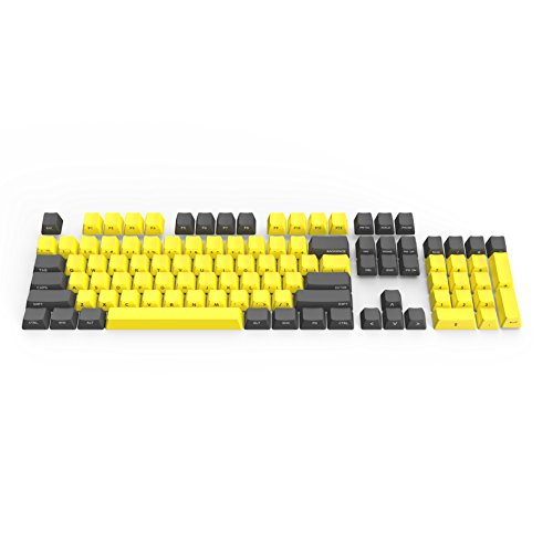 DREVO 104 Key PBT Keycap Set for 87 104 Cherry MX ANSI US Standard Mechanical Gaming Keyboard with Key Puller 1.5mm OEM Profile Laser Marking Side Print Yellow Grey Combo