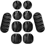 Cable Organizer, Cable Clips, Cord Hooks, 10 Pack Black Adhesive Cord Holder Wire Management System from Whellen