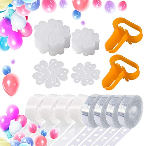 Balloon Decorating Strip Kit for Balloon Arch Garland (50 PCS) | 4 Rolls Balloon Tape (65.6 ft), 2 Pcs Balloon Tying Tool, 4 Rolls Glue Dots (400 Dots), 40 Balloon Clips for Birthday Wedding Party DIY ()