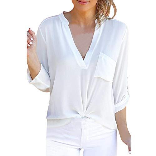Plus Size Tops, Toimoth Women Long Sleeve Chiffon Pocket T-Shirts Casual Loose Tops Tunic Blouse(White,S)