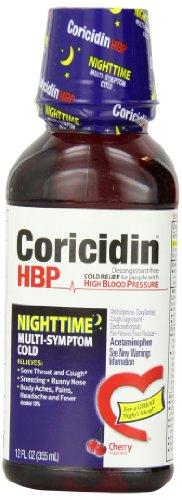 - Coricidin HBP Nighttime Multi Symptom Cold Relief Liquid, 12 Fluid Ounce (Pack of 12)