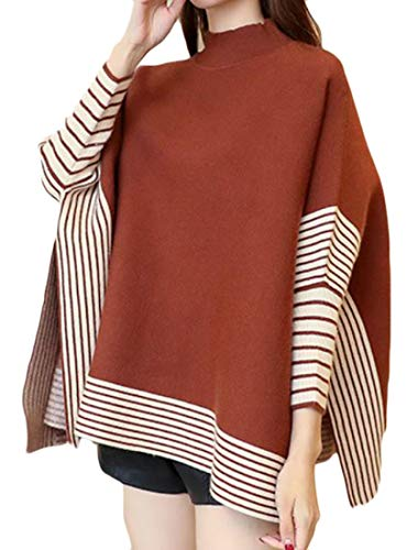 (Cromoncent Womens Loose Fit Striped Batwing Sleeve Cape Poncho Knit Pullover Jumper Sweater One-Size)