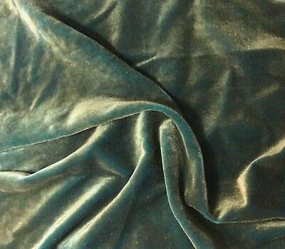 "Hand Painted Silk Velvet Fabric Antique Gold on Aqua 45"" MHWK11"