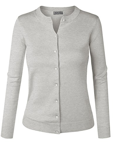 BIADANI Women Pearl Button Down Long Sleeve Soft Knit Cardigan Sweater Heather Grey 1X-Large