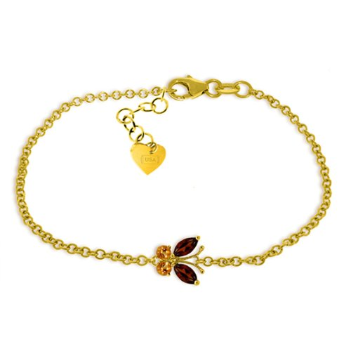 14k Yellow Gold Garnet and Citrine Butterfly Bracelet