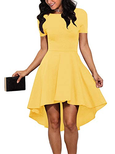 REORIA Women Womens Scoop Neck Short Sleeve High Low Cocktail Party Skater Dress Yellow X-Large