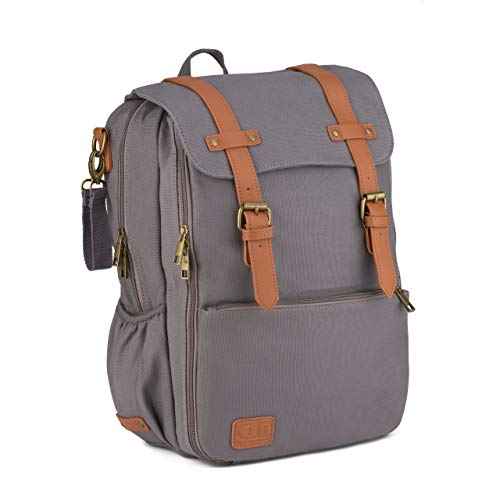 Diaper Bag Backpack, Multi-Function Maternity Nappy Bag for Travel with Baby, Stylish Durable Canvas Bag for Mom & Dad (Gray)