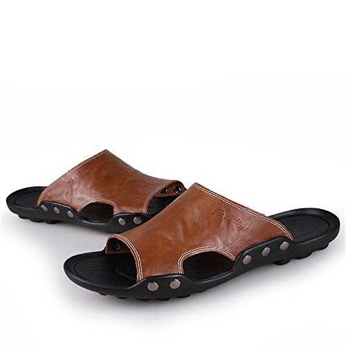 Black Non Slip Slippers Sunny Cowhide Abrasion Color 6 Sole Sandals Brown Beach Men's Genuine 5MUS Size Resistant Leather amp;Baby 66qH0wF