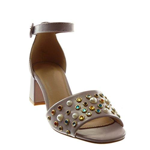 Ancho Tanga Perla Angkorly Lila Escarpín 6 Alto Moda Tacón Correa De Sandalias Zapatillas Cm Tobillo Mujer Joyas q1wf7