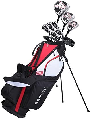 Aspire XD1 Men s Senior All Graphite Complete Golf Clubs Package Set Includes Titanium Driver, S.S. Fairway, S.S. Hybrid, S.S. 6-PW Irons, Putter, Stand Bag, 3 H C s Right Hand