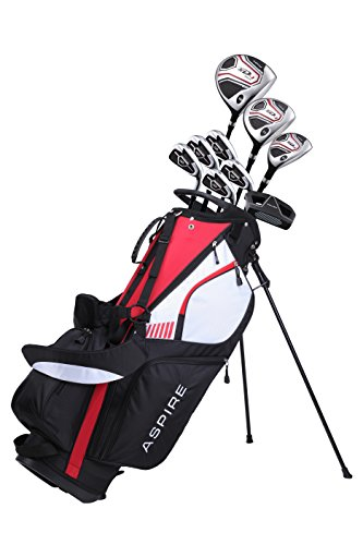 Aspire XD1 Men's SENIOR ALL GRAPHITE Complete Golf Clubs Package Set Includes Titanium Driver, S.S. Fairway, S.S. Hybrid, S.S. 6-PW Irons, Putter, Stand Bag, 3 H/C's Right Hand
