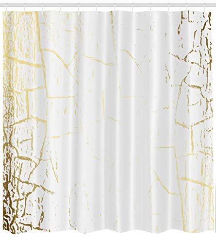 Gold Foil Texture - Asoco Marbles Shower Curtain, Marble Texture Golden Foil Gold Scratch Subtle Light White Bathroom Shower Curtains Waterproof Set of Hooks 72X78 Inches