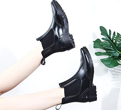 À De Bottines Rond Femme Chelsea Enfiler Aisun Bout Fermeture Noir Pluie Antidérapant Mode xqIAAwFvB