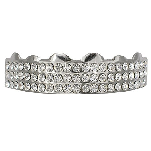 Hiphop Top Silver Tone 3 Rows w/ Clear Cz Removeable Grillz by L & L Nation