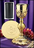 Coronation Chalice w/t IHS Paten & Case Brass/Gold Plate,Leather Case