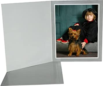 Cardboard Photo Folder for a 5x7 Photo Light Gray Pack 0f 100