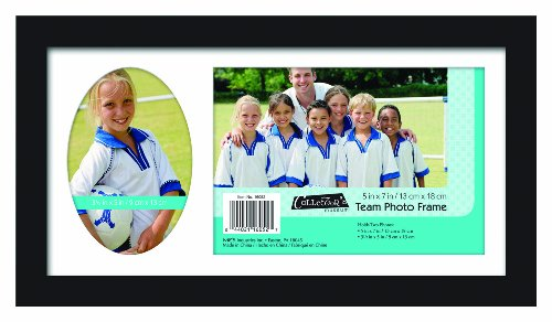 Sports Photo Frame (MCS 12.5x7.25 Inch Team Frame with 2 Photo Openings, 5x7 Inch and 3.5x5 Inch, Black (16052))