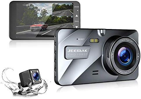 Upgraded 720P Rear Jeemak Dual Dash Cam 4 Inches LCD 1080P Dashboard Camera with Night Vision Waterproof Backup Camera G-Sensor Parking Monitor