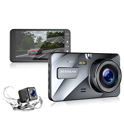 Jeemak Dual Lens Dash Cam Front and Rear 1080P+720P Dashboard Camera,Night Vision Waterproof Backup Camera,4' IPS LCD, in Car Vehicle Driving DVR Recorder, G-Sensor Parking Monitor