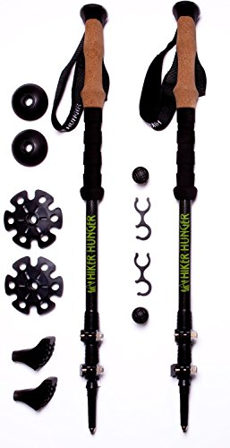 Hiker Hunger 100% Carbon Fiber Trekking Poles – Ultralight & Collapsible with Quick Flip Lock, Cork Grips, & Tungsten Tips