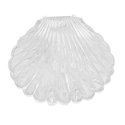 Colorido Transparent Seashell Shape Necklace Bracelet Jewelry Box Storage Case Organizer (White)