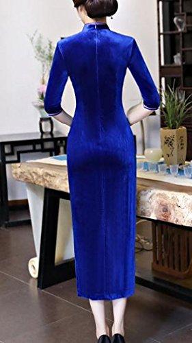 Printed Premium Blue Pleuche Cheongsam Coolred Sapphire Flower Women Vintage Dress wEvxAqZF