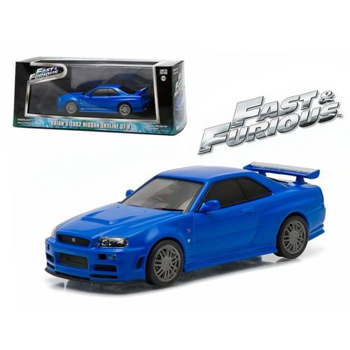 Brian's 2002 Nissan Skyline GT-R - Fast and Furious (2009), Authentic Movie Decoration, Chrome Accents, Movie Themed Packaging, Protective Acrylic Case, True-to-Scale Detail, Limited Edition