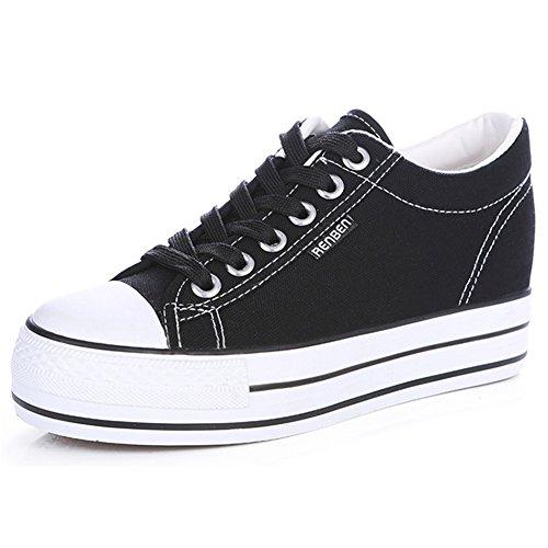 Cordón Zapatillas Renben Moda Espadrilla negro Plataforma Chicas Lona Cuña Zapatos Clásico Mujer qZwxZaSF