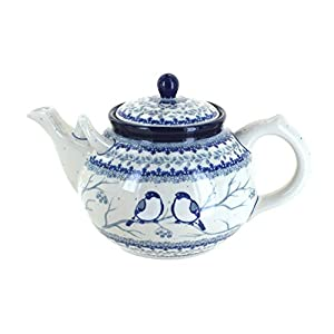 Blue Rose Polish Pottery Bluebird Large Teapot
