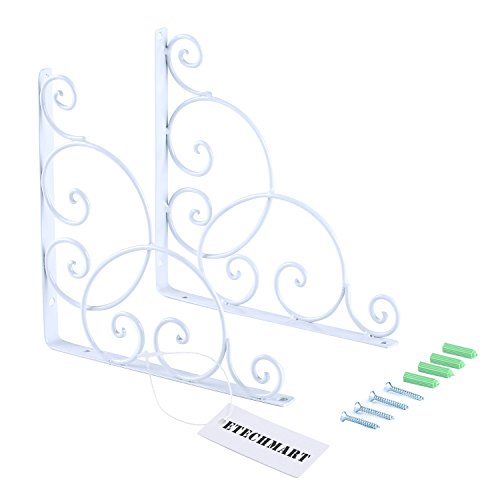 ETECHMART Pack of 2 Decorative Wall Shelf Brackets 8 Inch White (Brackets Decorative)
