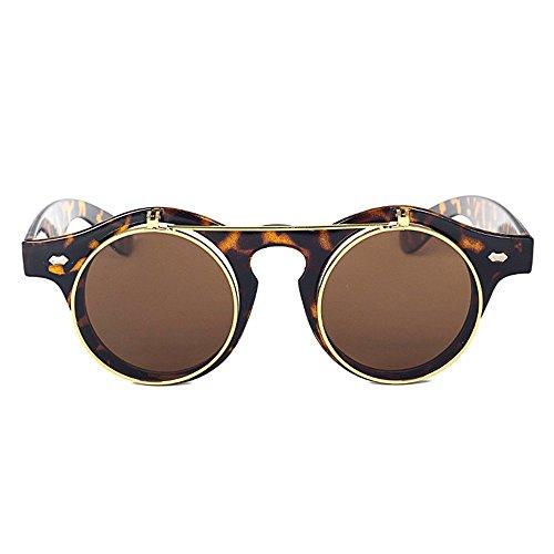 y retro redonda estilo montura retro Amarillo Steampunk Negro Negro Gafas sol de estilo con IC1qn0Xw
