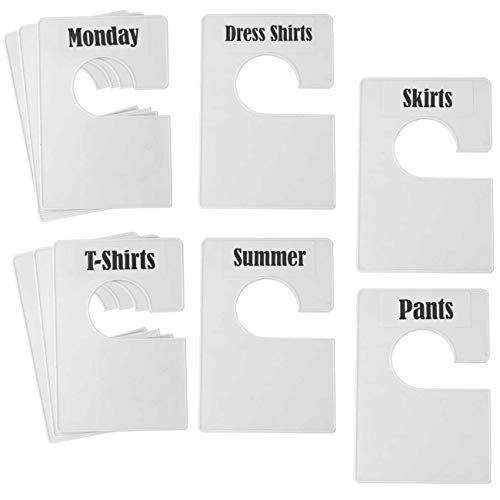 TraGoods 10 Pack White Clothing Rack Size Dividers Plus 60 Labels (1 Inch) and 16 Large Blank Labels, Large Rectangular Clothing Closet dividers (Pearl White)
