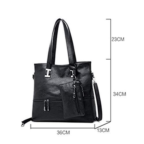 borsa borsa a portatile femminile taglia femminile moda morbida selvaggia in Dxqi grande colore unica marrone capacità nero taglia mano pelle casual Lady 4Odqn