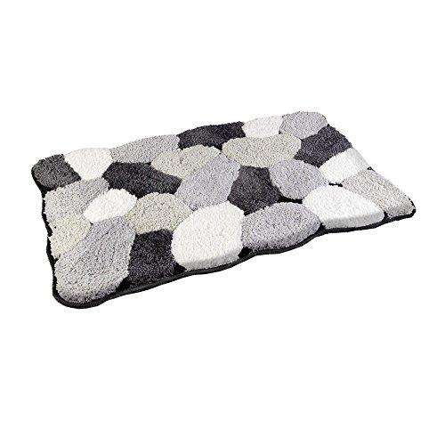 Flauschiger Grau - Schwarz - Weißer Stone Optik -Badteppich 50 x 80cm - Badvorleger, Badematte in Steinoptik aus Microfaser-AWD02160779-AWD DESIGN
