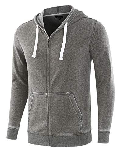(HETHCODE Mens Casual Fashion Zip Up Long Sleeve Pocket Hoodie Sweatshirt Jacket Burnout Army)