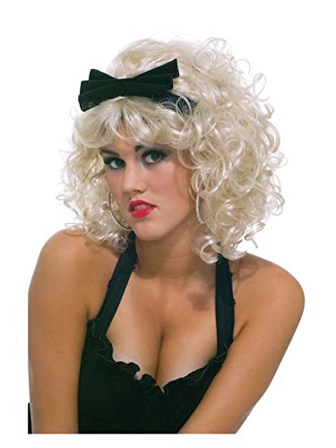 80's Pop Star Wig with Bow, Blonde, One Size