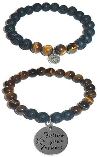 Aromatherapy Women's Tiger Eye & Black Lava Essential Oil Diffuser Beads Charm Stretch Bracelet Gift Set. (Follow Your Dreams)