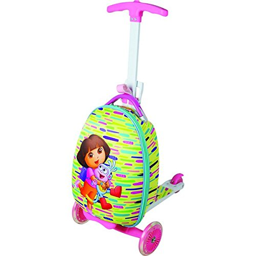Nickelodeon Kids Dora Scootie 'Friends' Multi-color Scooter Upright Hardsided Suitcase, Checkpoint-Friendly, Convertible, Locking, Multi-Compartment, Telescoping Handle (Checkpoint Luggage)