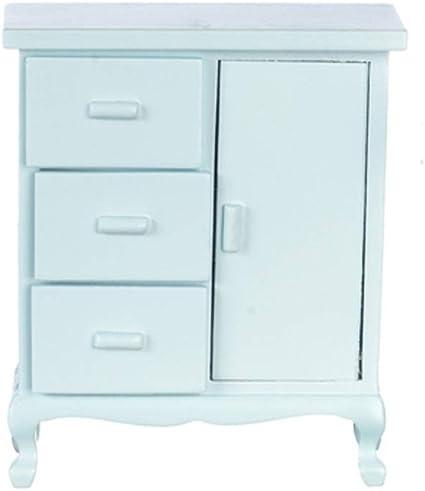 Melody Jane Dolls House White Wood Baby Wardrobe Chest on Legs Miniature Nursery Furniture
