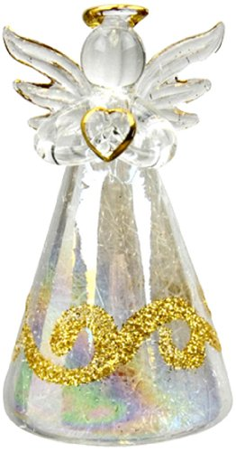 Wisemen Glass Ornaments - Red Carpet Studios Glass Lighted Color Changing Angels with Gold Glitter, Set of 2