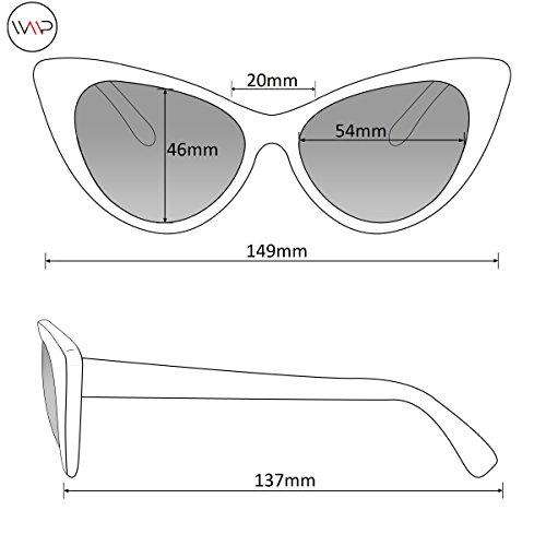 Womens Cat Eye Mirrored Revo Reflective Lenses Oversized Cateyes Sunglasses (Box: Mirror Purple/Mirror Blue/Mirror Silver, 54) by WearMe Pro (Image #5)