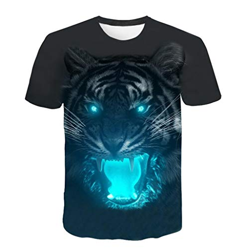 Men 3D Printing T-Shirt,Jchen Summer Mens Teen Boys 3D Tiger Print Casual Funny Tees Shirt Tops (L/US/EU Size:M, Black) by Jchen Men T-shirt (Image #2)