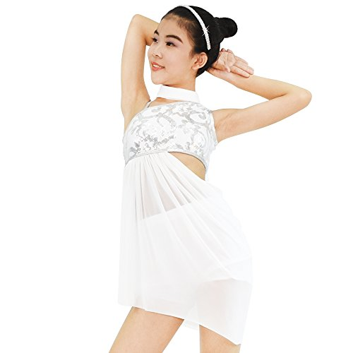 MiDee Lyrical Dress 2 Pieces Dance Costumes Floral Sequins Highlow Neck Side Waist Open Drap Skirt (XLC, White) - Acrobatics Costumes
