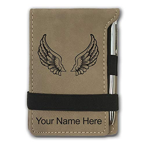 Mini Notepad, Angel Wings, Personalized Engraving Included (Light Brown) ()
