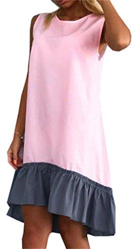 Robe Sans Manches Midi Décontracté Rose Robe De Réservoir De Raccordement De Bloc De Couleur Domple Des Femmes
