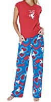 Red & Blue Brushed Cotton Jersey I'm with Cupid Pajamas for Women