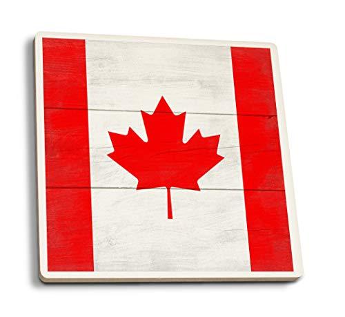 Lantern Press Rustic Canada Country Flag (Set of 4 Ceramic Coasters - Cork-Backed, - Coaster Flag Canada