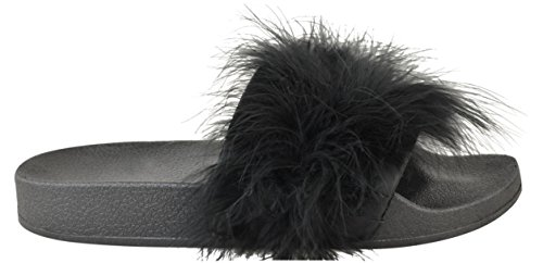 8 Taglie On Nero Fluffy Scarpe Slider 3 Slip Leggero Trim In Ladies Gomma Uk Sandali Flat Fur Estive aqwO1