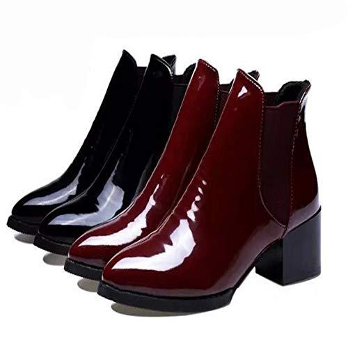Spitze Stiefel Heels Niedrige Elastische Knight Stiefel Es Low Herbst Gürtel Boots Stiefel Lackleder Women Gürtelschnallen Boots qRxYFwzpFH